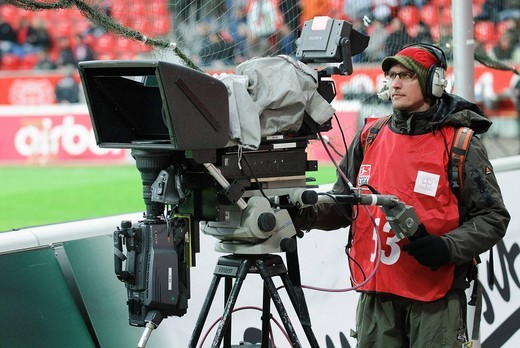 Stock Photo: 1848-416049 Television camera to produce three_dimensional images of a soccer game, standing on the sidelines of BayArena stadium, Leverkusen, North Rhine_Westphalia, Germany, Europe