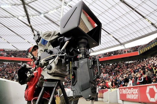 Stock Photo: 1848-416052 Television camera to produce three_dimensional images of a soccer game, standing on the sidelines of BayArena stadium, Leverkusen, North Rhine_Westphalia, Germany, Europe
