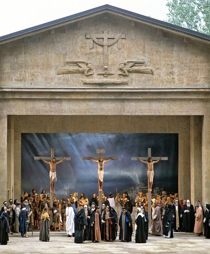 Stock Photo: 1848-416193 Crucifixion of Jesus Christ, scene, performance, Passion Plays, Oberammergau, Upper Bavaria, Bavaria, Germany, Europe