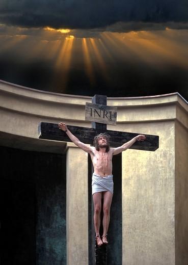 Crucifixion of Jesus Christ, scene, performance, Passion Plays, Oberammergau, Upper Bavaria, Bavaria, Germany, Europe : Stock Photo