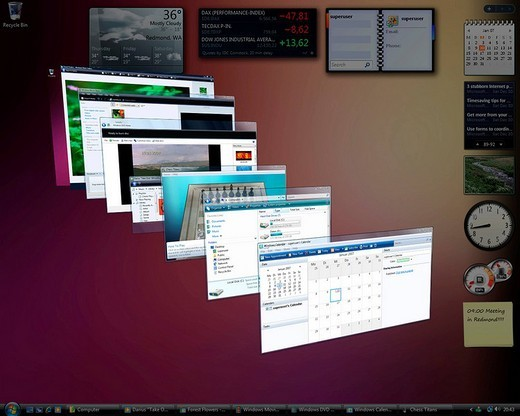 Stock Photo: 1848-41625 Microsoft Windows Vista, english version, desktop with perspectively arranged applications, screenshot