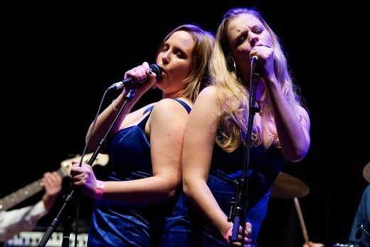 Jay Zibung and Michèle Achermann, background singers, Swiss soul, pop and funk band Missy Brown, live at the Grand Casino Casineum, Lucerne, Switzerland, Europe : Stock Photo