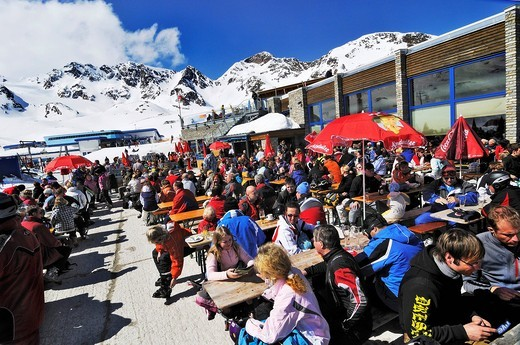 Stubai Glacier, Gamsgarten restaurant, Tyrol, Austria, Europe : Stock Photo
