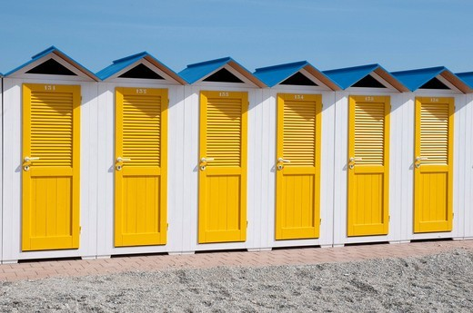 Beach shed, bathing huts, Albenga, Riviera, Liguria, Italy, Europe : Stock Photo