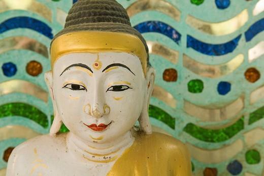 Stock Photo: 1848-41681 Buddha at the snake temple of Paleik, Myanmar