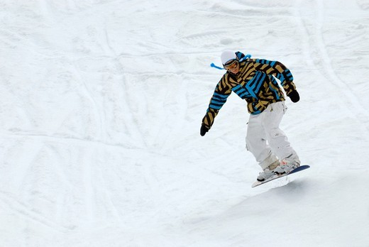 Stock Photo: 1848-417180 Snowboarder in action, Folgefonn summer ski center AS, Folgefonna glacier, Norway, Europe