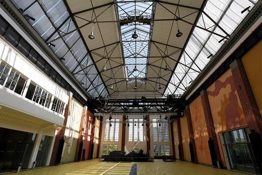 Historic turbine hall of town department Duesseldorf, Flingern, Duesseldorf, Germany : Stock Photo
