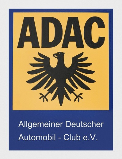 Stock Photo: 1848-417729 Sign, ADAC with Logo, General German Automobile Club e. V.