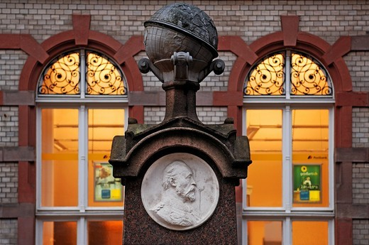 Memorial of Heinrich von Stephan, 1885_1897, founder of the World Postal Union, in front of the main post office, Mecklenburgstrasse, Schwerin, Mecklenburg_Western Pomerania, Germany, Europe : Stock Photo