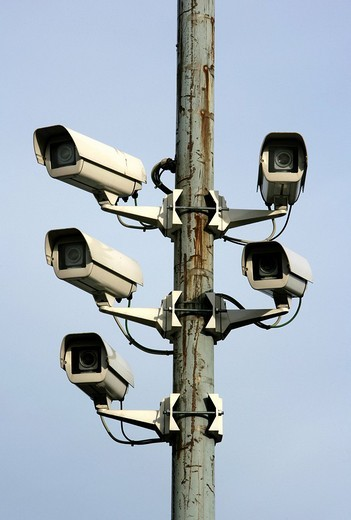 Stock Photo: 1848-41792 DEU, Germany, Huenxe: Surveillance cameras, CCTV