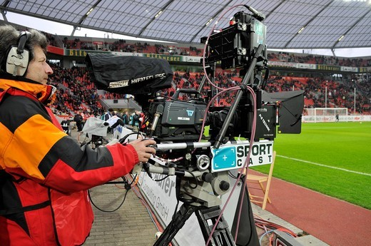 Stock Photo: 1848-418019 Television camera to produce three_dimensional images of a soccer game, standing on the sidelines of BayArena stadium, Leverkusen, North Rhine_Westphalia, Germany, Europe