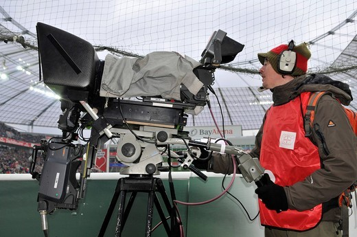 Television camera to produce three_dimensional images of a soccer game, standing on the sidelines of BayArena stadium, Leverkusen, North Rhine_Westphalia, Germany, Europe : Stock Photo