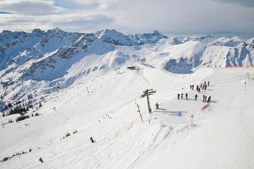 Stock Photo: 1848-418041 Skiing area on Mt Fellhorn, winter, snow, Oberstdorf, Allgaeu Alps, Allgaeu, Bavaria, Germany, Europe