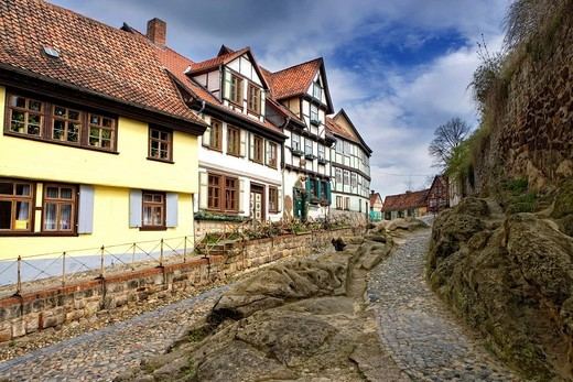 Stock Photo: 1848-418443 Rittergassse Alley at the foot of the Schlossberg Mountain, Quedlinburg, Saxony_Anhalt, Germany, Europe