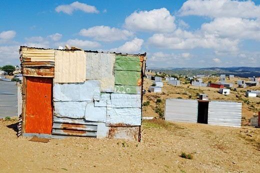 Stock Photo: 1848-418720 Temporary corrugated iron huts without water and electricity in an informal settlement on the edge of the Township Katutura, Windhoek, Namibia, African