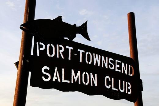 Stock Photo: 1848-419053 Sign, Port Townsend Salmon Club, Washington State, USA