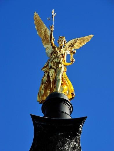 Stock Photo: 1848-419083 Angel of Peace, replica of the Nike of Paionios, Munich, Upper Bavaria, Bavaria, Germany, Europe