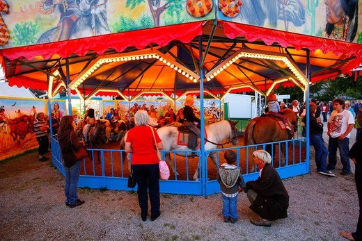 Pony ride, folk festival, Muehldorf am Inn, Bavaria, Germany, Europe : Stock Photo