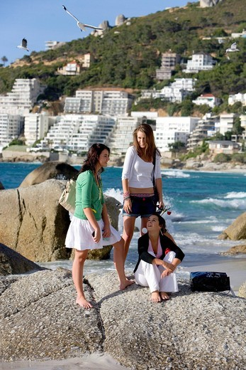 Beach in the Clifton suburb, three young girls, Cape Town, Western Cape, South Africa, Africa : Stock Photo