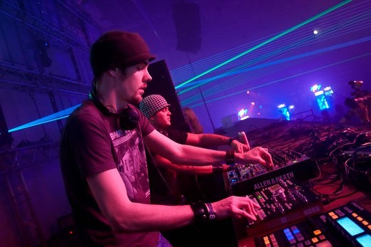 DJ BMG aka Brachiale Musikgestalter, Winter World 2010, techno festival in Sports Hall Oberwerth, Koblenz, Rhineland_Palatinate, Germany, Europe : Stock Photo