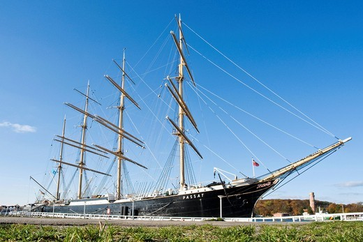 Sail training ship Passat in the port of Travemuende, Schleswig_Holstein, Germany, Europe : Stock Photo