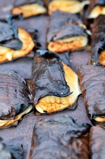 Stock Photo: 1848-419830 Traditional dumplings, empanadas, wrapped in banana leaves, San Ignacio, Chiquitania, Santa Cruz Department, Bolivia, South America
