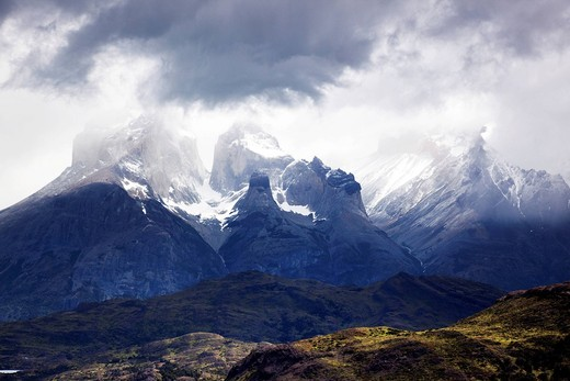 Mountain Cuernos del Paine in Torres del Paine National Park, Magellanes Region, Patagonia, Chile, South America : Stock Photo