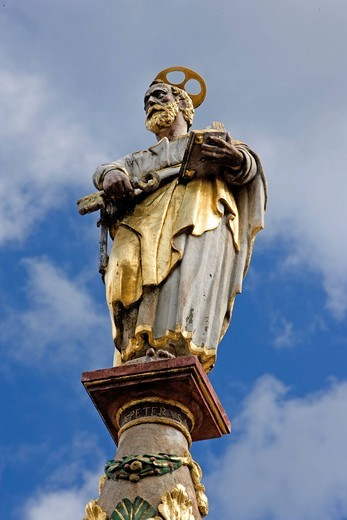 Stock Photo: 1848-420047 Petrusbrunnen, St Peter´s Fountain, Hauptmarkt square, Trier, Rhineland_Palatinate, Germany, Europe