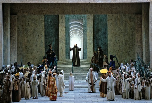 Stock Photo: 1848-420083 Prayer in the Temple, scene, performance, Passion Plays, Oberammergau, Upper Bavaria, Bavaria, Germany, Europe