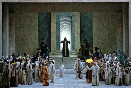 Prayer in the Temple, scene, performance, Passion Plays, Oberammergau, Upper Bavaria, Bavaria, Germany, Europe : Stock Photo