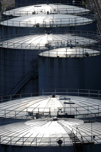 Oil tanks, tank building, back light, Kiel, Schleswig_Holstein, Germany, Europe : Stock Photo