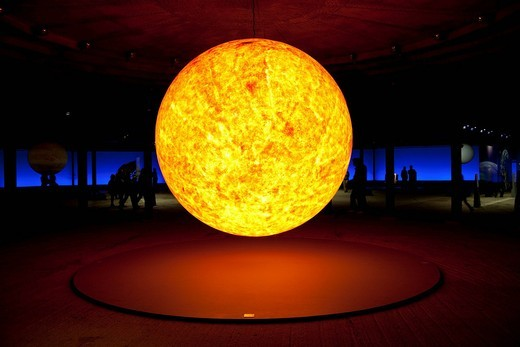 Sun sculpture, three_dimensional representation of the sun in the exhibition Sternstunden, wonders of the solar system, Gasometer, Oberhausen, Ruhr Area, North Rhine_Westphalia, Germany, Europe : Stock Photo