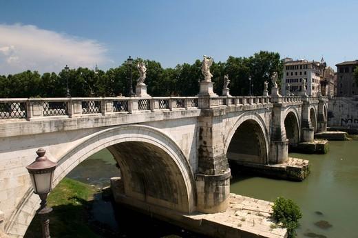 Ponte Sant´Angelo bridge over the Tiber river, Rome, Italy, Europe : Stock Photo
