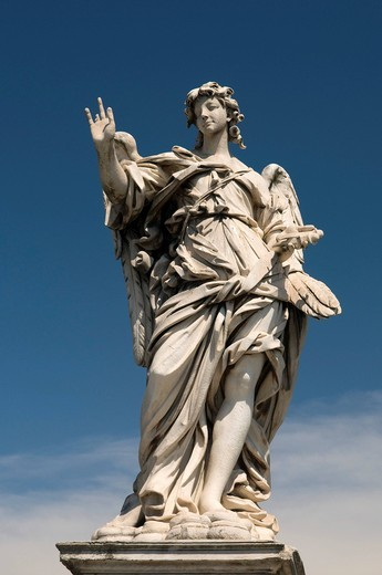 Stock Photo: 1848-420621 Angel statue on the Ponte Sant´Angelo bridge, Rome, Italy, Europe