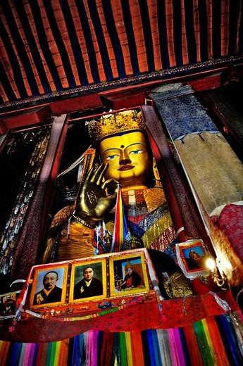 Buddha Maitreya, Jamkhang Chenmo monastery, Tashilhunpo, Tibet, Asia : Stock Photo