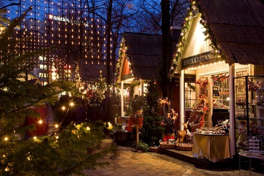 Christmas stalls in Tivoli, Copenhagen, Denmark, Europe : Stock Photo