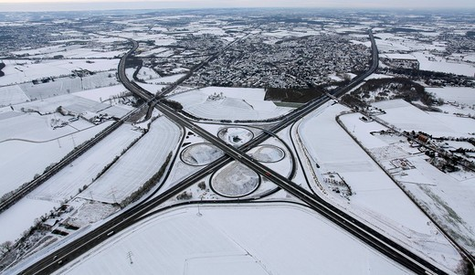 Stock Photo: 1848-420955 Aerial photo, Kamen cross, junction A1 A2, Kamen, Ruhr Area, North Rhine_Westphalia, Germany, Europe