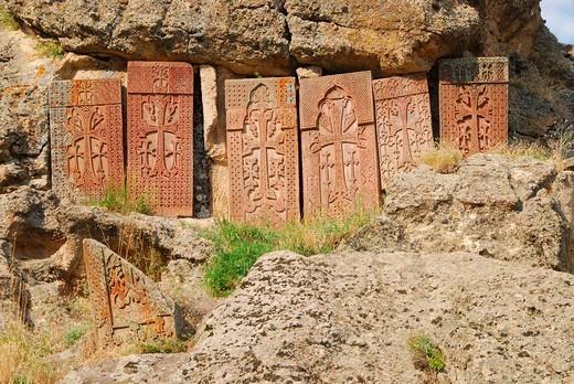 Cross_slabs, Geghard Monastery, Armenien : Stock Photo