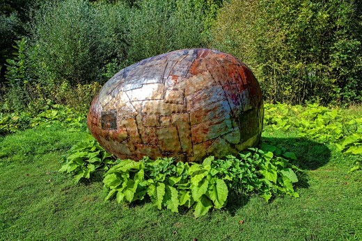 The Ei, egg, piece of art by Anatol Herzfeld, Museum Island Hombroich open_air museum, Neuss, North Rhine_Westphalia, Germany, Europe : Stock Photo
