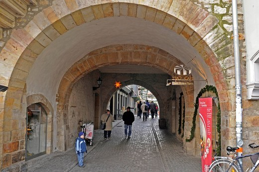 Stock Photo: 1848-42187 Entrance to the Kraemerbruecke bridge, Erfurt, Thuringia, Germany, Europe