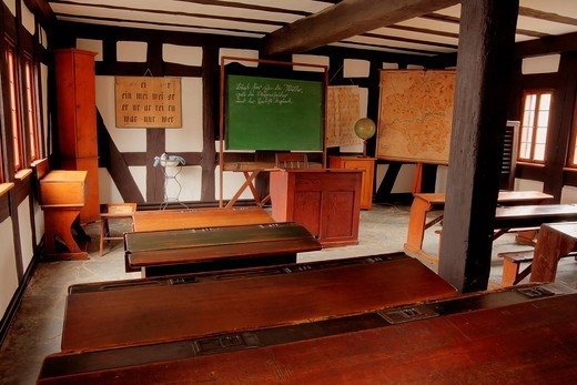 Classroom from the beginning of the 20th Century, Hessenpark Open_Air Museum, Neu_Anspach, Taunus, Hesse, Germany, Europe : Stock Photo