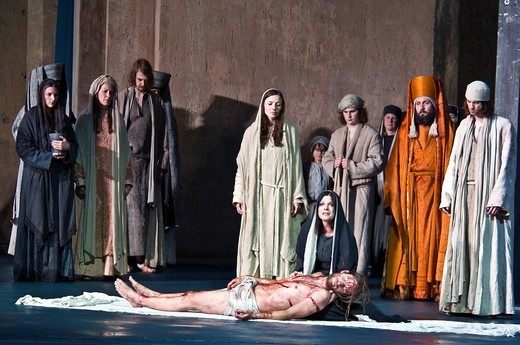 Stock Photo: 1848-422271 Jesus, having been taken off the cross, is mourned by Mary, Mary Magdalene and his disciples, Oberammergau Passion Play, Bavaria, Germany, Europe