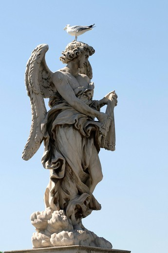 Stock Photo: 1848-422338 Angel statue on the Ponte Sant´Angelo bridge, Rome, Italy, Europe