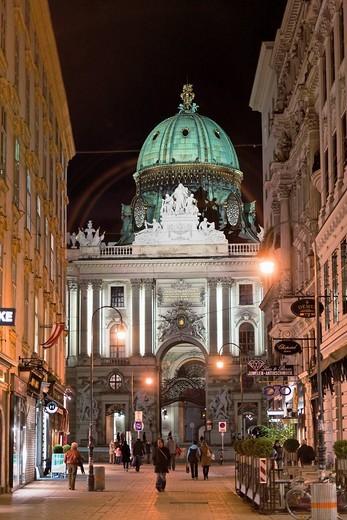 Hofburg, Imperial Palace, and Kohlmarkt, coal market, Vienna, Austria, Europe : Stock Photo