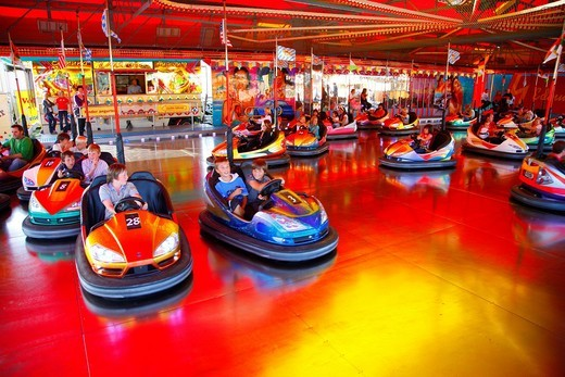 Bumper cars, folk festival, Muehldorf am Inn, Bavaria, Germany, Europe : Stock Photo
