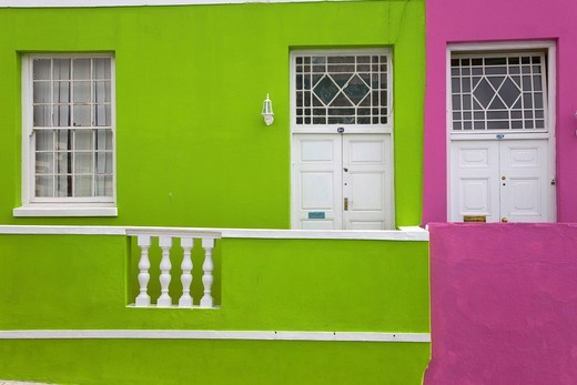 Bo_Kaap, colorful houses in the Malay Quarter, Cape Town, South Africa, Africa : Stock Photo