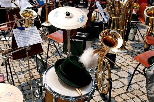 Bavarian brass band instruments, Prien, Chiemgau, Upper Bavaria, Germany, Europe : Stock Photo