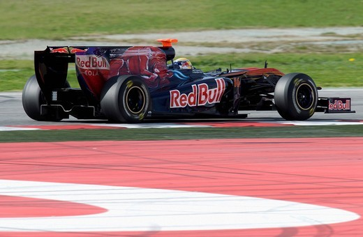 Motorsports, Sebastien Buemi, SUI, in the Toro Rosso STR4 race car, Formula 1 testing at the Circuit de Catalunya race track in Barcelona, Spain, Europe : Stock Photo
