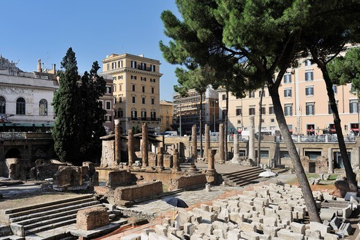 Temple A, Largo di Torre Argentina square, Rome, Lazio, Italy, Europe : Stock Photo