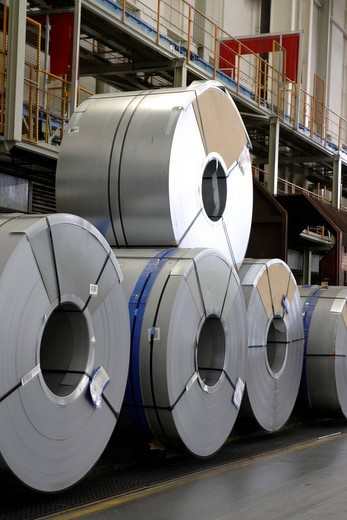 Rolls of metal for the chassis production, golf car production, VW plant in Wolfsburg, Lower Saxony, Germany, Europe : Stock Photo